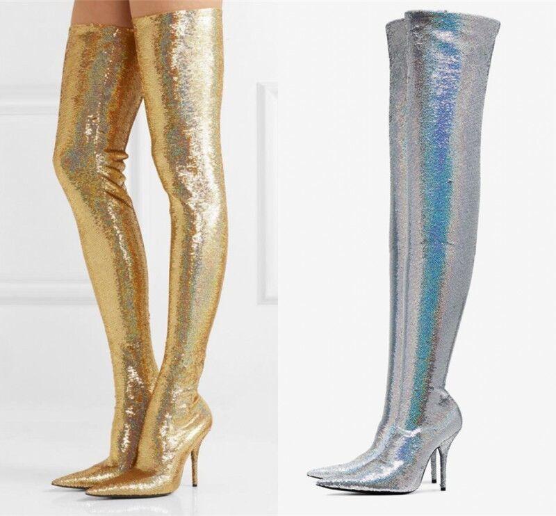 Womens Womens Womens Over The Knee Thigh High Stiletto Heel Glitter Stretch Calf Leg Boots New 5b96a6