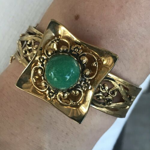 1970s Gold Tone Statement Cuff Bracelet with Green