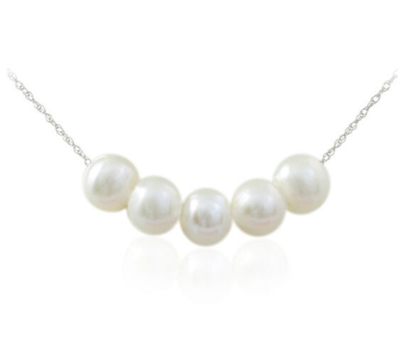 10K Solid White gold Ex Large 5 White Genuine Freshwater Pearl Pendant & Chain