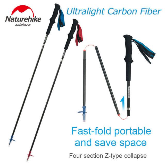 Outdoor Carbon Tri-Fold Camping Trekking Pole Hiking Walking Stick Alpenstock