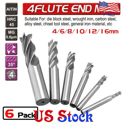 8pcs Solid End Mill 4 Flute TiAlN Coated Micrograin Carbide Slot Drill 1//16-1//2