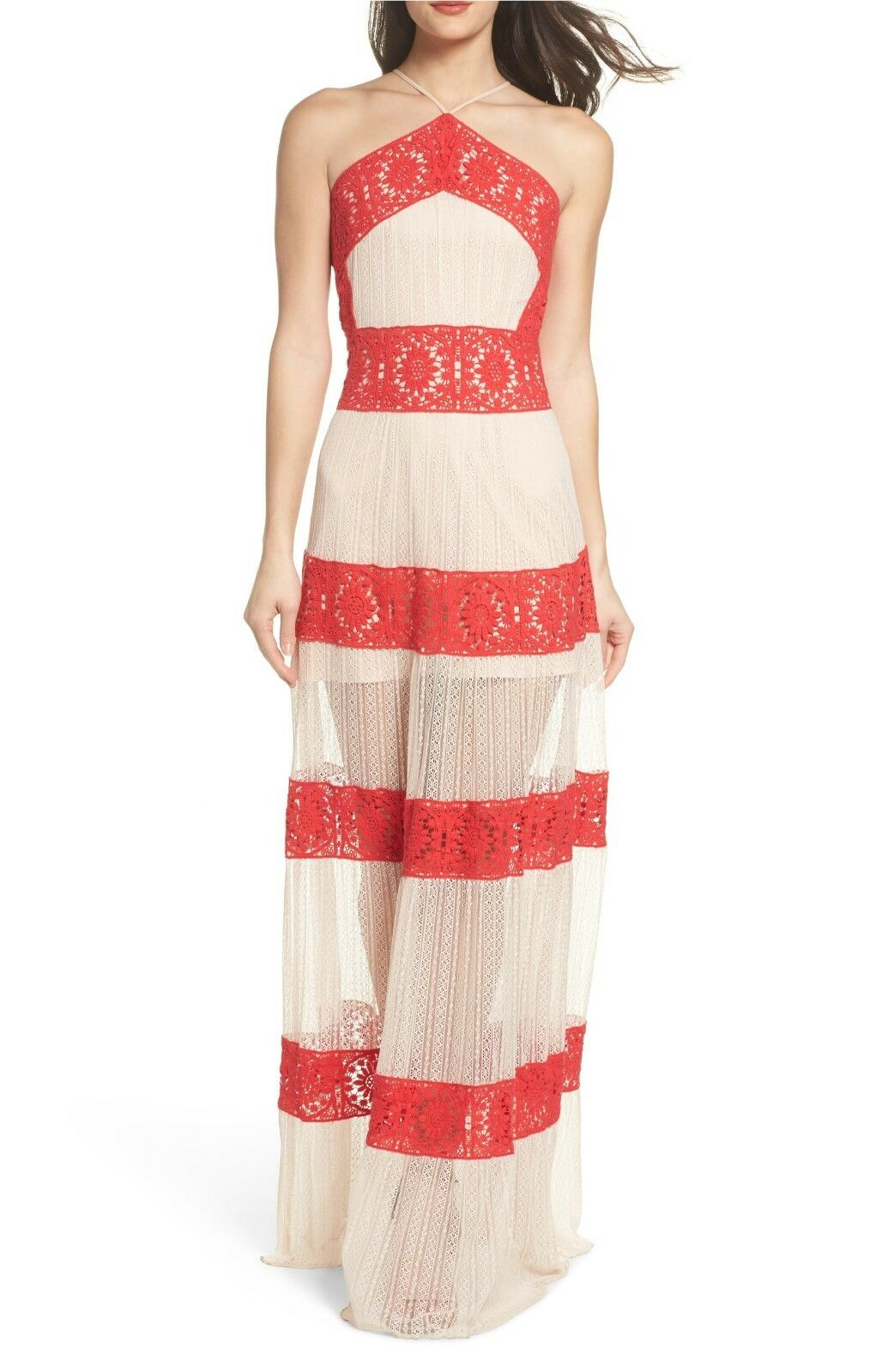 NEW FOXIEDOX Coral Red Nude Ophelia Two-Tone Lace Halter Sporty Maxi Dress XL 16