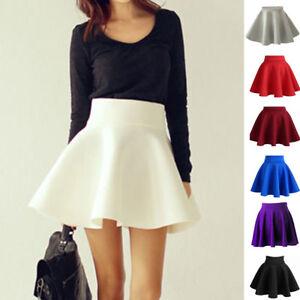 Vintage-Women-Stretch-High-Waist-Short-Plain-Skater-Flared-Pleated-Skirt-Fashion