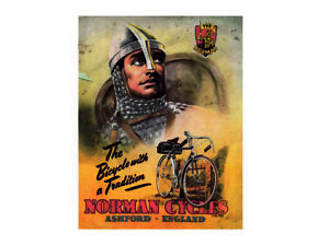 The bicycle with a tradition Norman retro vintage style metal wall plaque sign