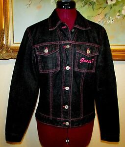 RARE-JUNIORS-GUESS-DARK-DENIM-JEAN-JACKET-W-PINK-STITCH-TRIM-EMBROIDERY-SZ-L-EUC