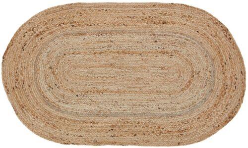 "20/""x30/"" Natural Braided Area Rug Unbleached Jute Tan Oval Rustic Primitive Floor"