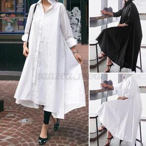 Elegant-Femme-Chemise-Robe-Manche-Longue-Boutons-Asymetrique-Coton-Dresse-Plus