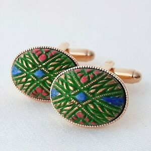 Vintage-1950s-Handpainted-Mosaic-Green-Glass-Oval-Gold-Plated-Cufflinks