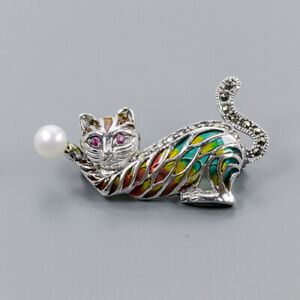 Pearl Brooch Silver 925 Sterling Enamel Jewelry /NB09027