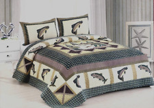last one this price new 3 pc gone fishing at fishing lodge king size quilt set