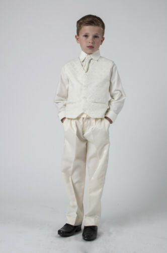 Boys Suits 4 Piece All Cream Waistcoat Suit Pageboy Party Formal Wedding