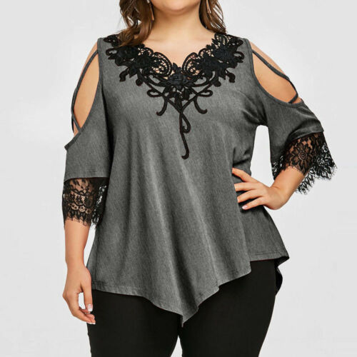 Womens Lace Off Shoulder T-Shirt Short Sleeve Casual Large Size Top Blouse S-5XL