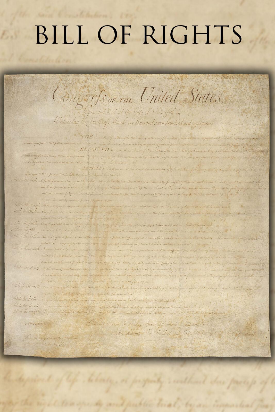 Plakat, Viele Größen; Vereinigte Staaten Bill Of Rechte