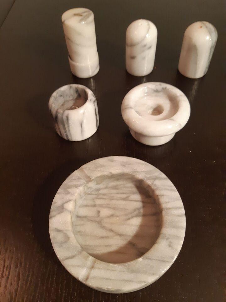 Stentøj, Marmor salt og peber, 2 lysestager