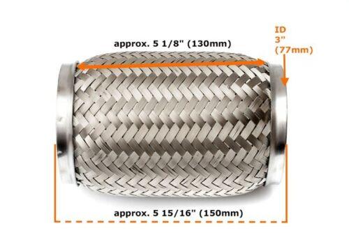 UNI/_Universal 3 Zoll Flexrohr Flexstück Flammrohr Hosenrohr Auspuffrohr/_76x150mm