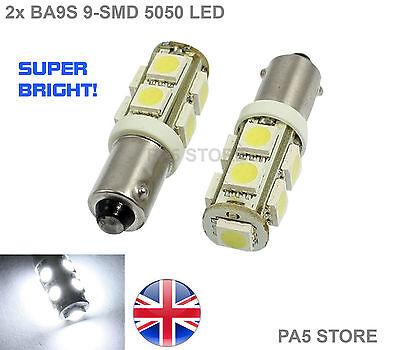 2x BA9S 9-SMD 5050 WHITE LED Bulbs - SUPER BRIGHT Car Side Light Interior T4W UK