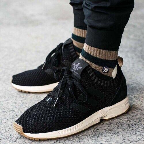 Adidas Zx Flux Primeknit Black With Gum Sole Size 13