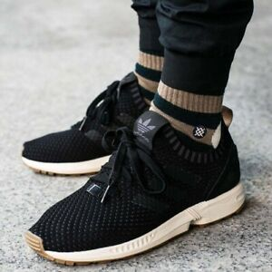 hot sale online 146c3 9f29b Details about Adidas Zx Flux Primeknit Black With Gum Sole Size 13