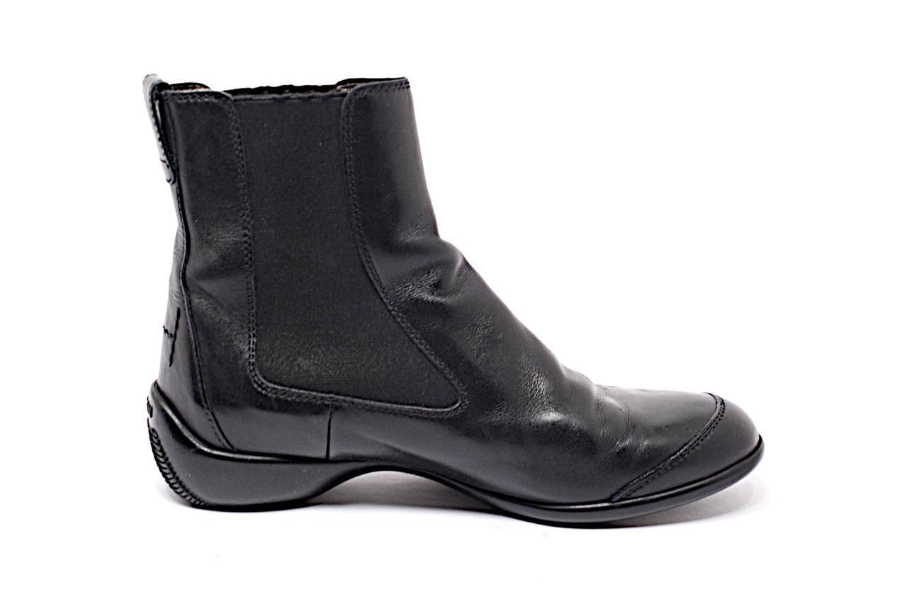 HOGAN Black Polished Leather Ankle Boots w/Elastic Sidesp Pull On- 36.5