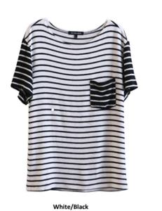 NWT Hye Park and Lune Neptune Short Sleeve BLK.WHT Stripe damen Top M sold OUT