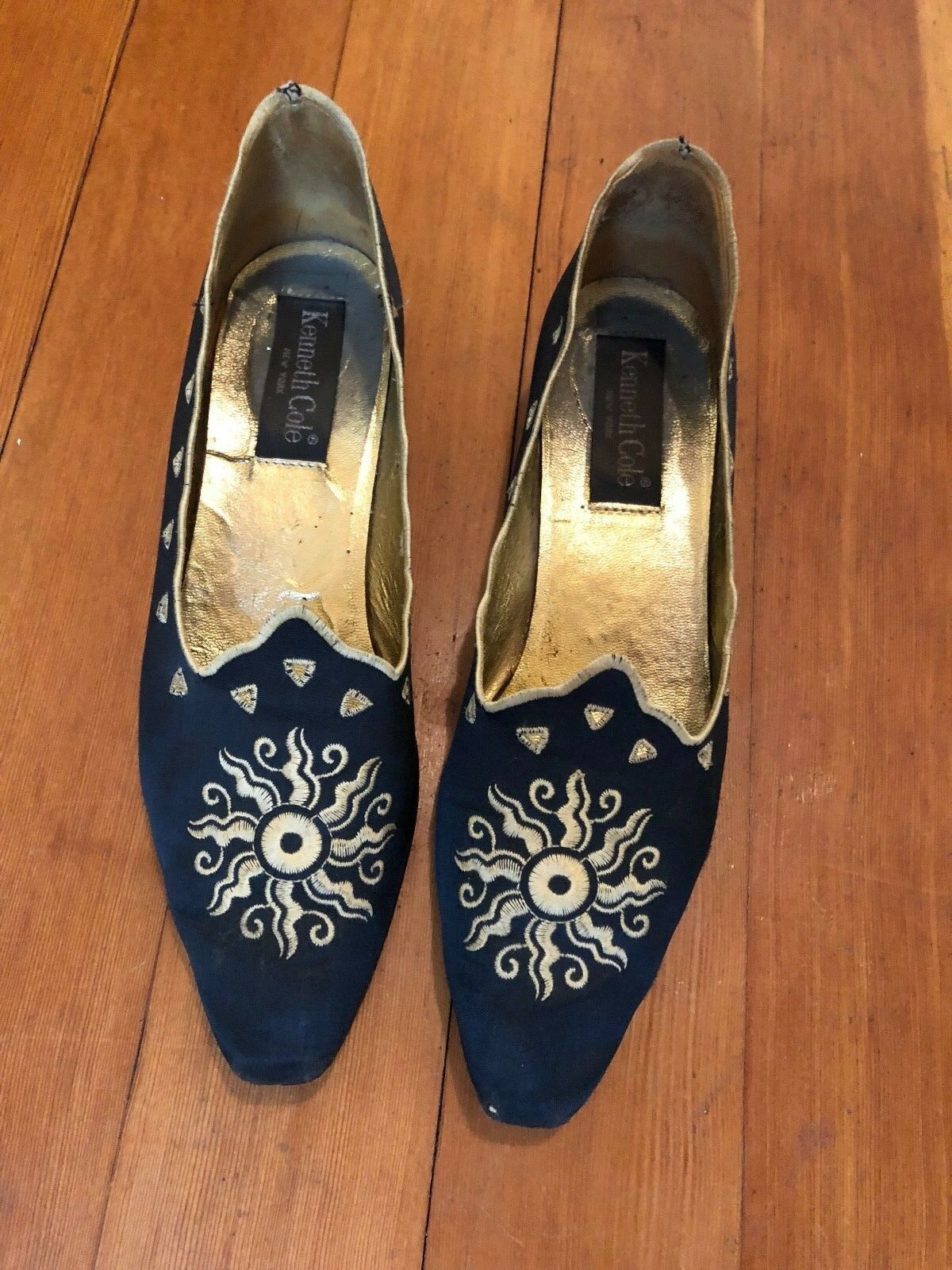 Vintage 1989 Kenneth Cole Wouomo scarpe Ballet Flats Great Condition Embroiderosso