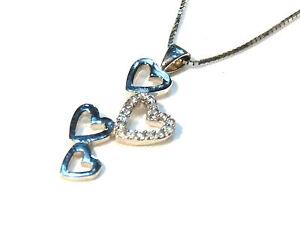 Bijou-argent-925-collier-pendentif-coeurs-plus-chaine-necklace