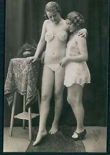 Biederer Lesbian friends nude woman BRA old c1920s photo postcard lot set of 5