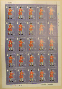 1970-Antigua-stamp-sheet-of-25-purple-Soldier-1701-Private-MINT-MNH