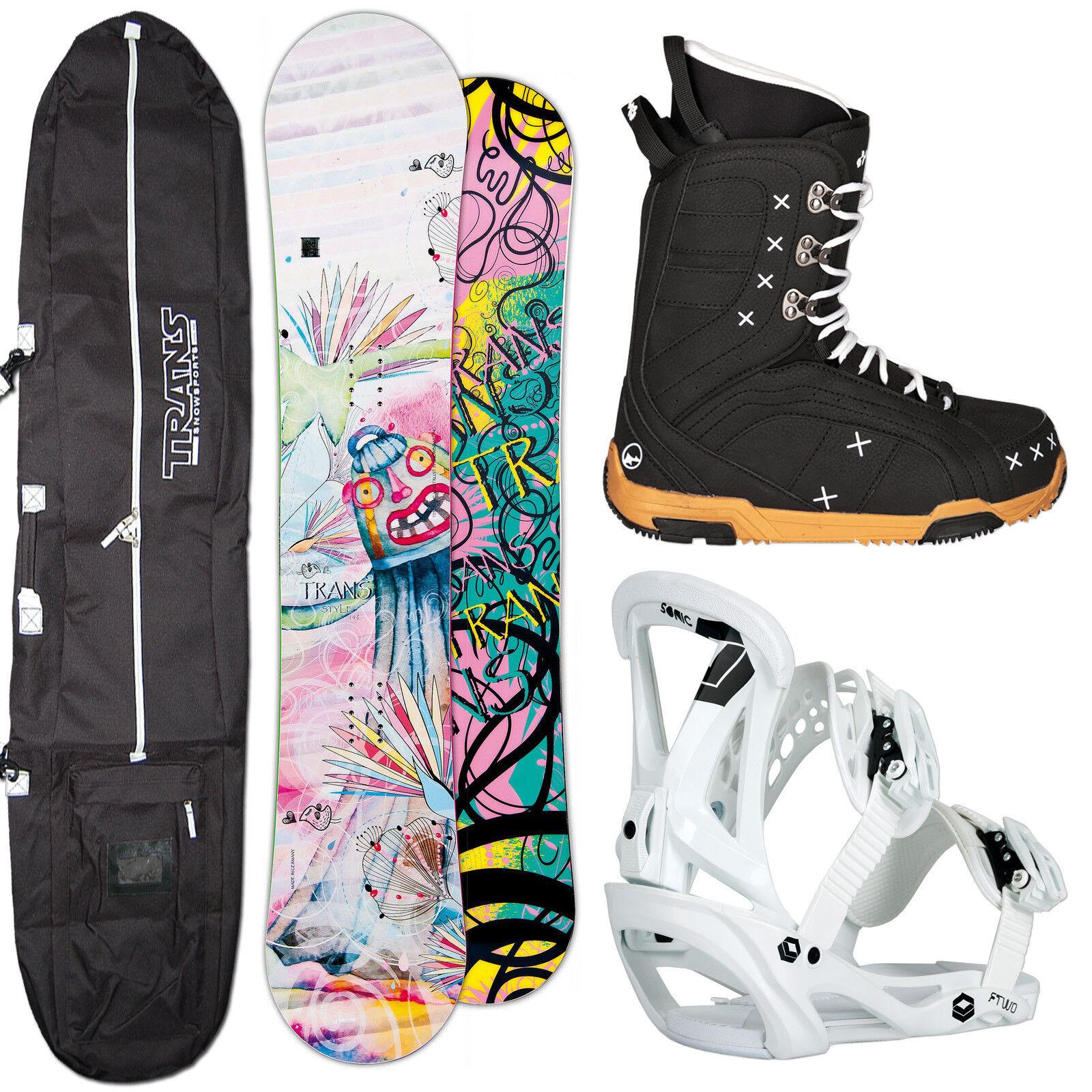 Snowboard Mujer Set Estilo Trans 152 cm + Ftwo Sonic Fijación Talla M + botas +