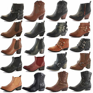 LADIES-WOMENS-WESTERN-CUBAN-HEEL-LEATHER-STYLE-VINTAGE-COWBOY-ANKLE-BOOTS-SIZE