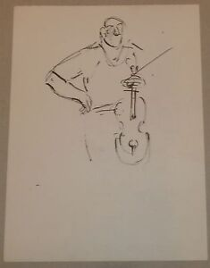 Man-Holding-a-Violin-Ink-Drawing-1950s-Israel-Louis-Winarsky