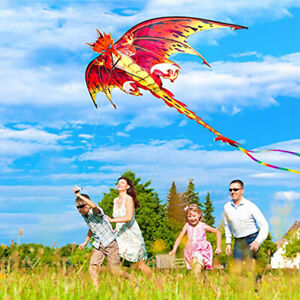 Dragon Kite 3D Pterosaur Single Line With Tail Outdoor Sports Adults Kids  Cw