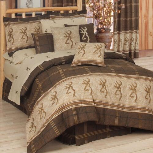 Browning Buckmark Original King Comforter Set w//sheets 8pc Plaid Deer Logo Cabin