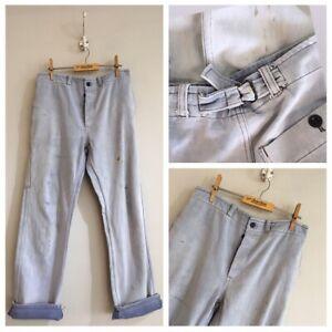 True-Vintage-European-Pale-Faded-Blue-Cotton-Chore-Workwear-Trousers-Pants-W30