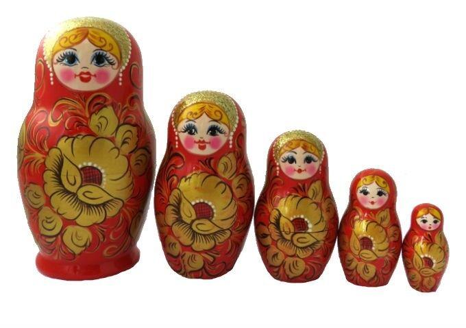 POUPEES RUSSES EMBOITABLES MATRIOCHKA PEINTE A LA MAIN CONTE RUSSE   5 PIECES
