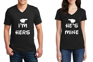 V-neck-I-039-m-Hers-He-039-s-Mine-Couple-Shirts-Matching-Cartoon-Hands-Valentine-039-s-Day