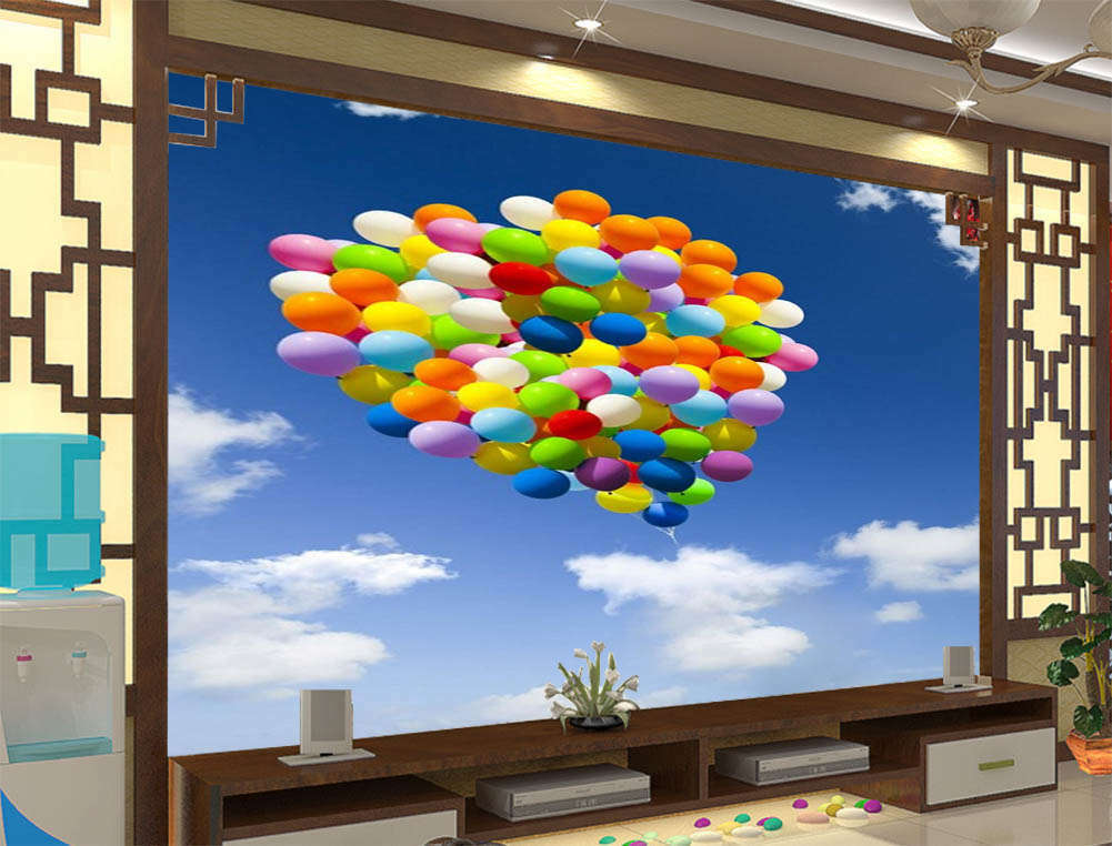 Farbeful Balloons 3D Full Wall Mural Photo Wallpaper Printing Home Kids Decor