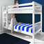 thumbnail 3 - Double Bed Bunk Beds Triple Pine Wood Kids White Children Bed Frame With Stairs