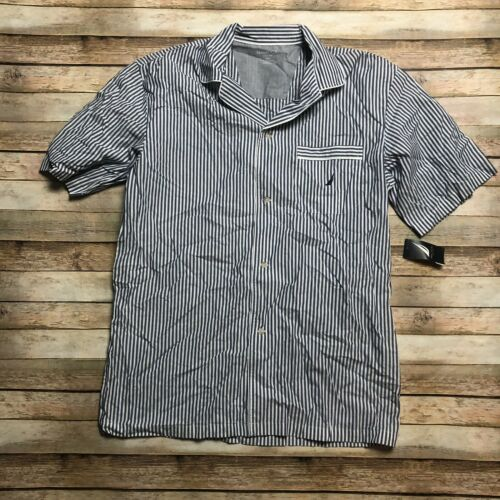 Nautica Mens L Woven Striped Button Down Pajama Shirt Blue White Sleepwear