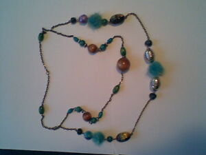 Ladies-Necklace-Fluffy-Turquoise-Balls-and-Beads-with-Brown-and-Silver-Coloured