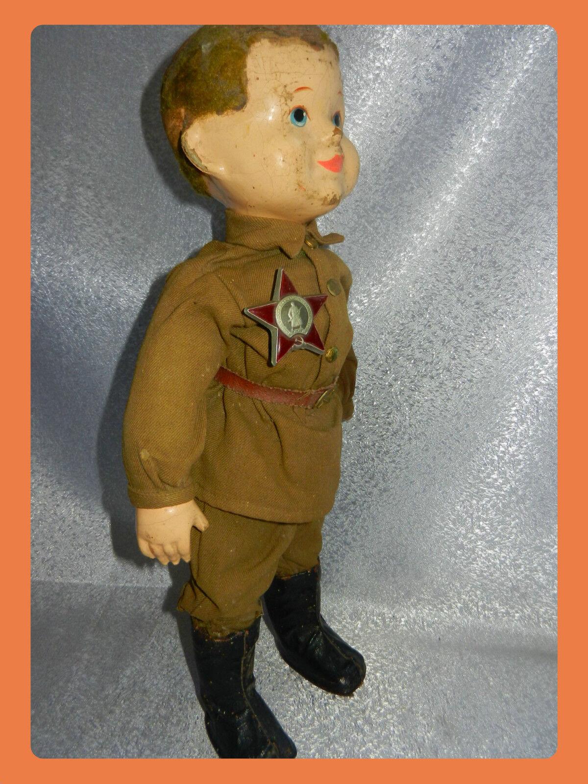 Muy Raro 1940s Vintage Rusa Soviética Ejército soldados Juguete Muñeca medalla Figura Antigua