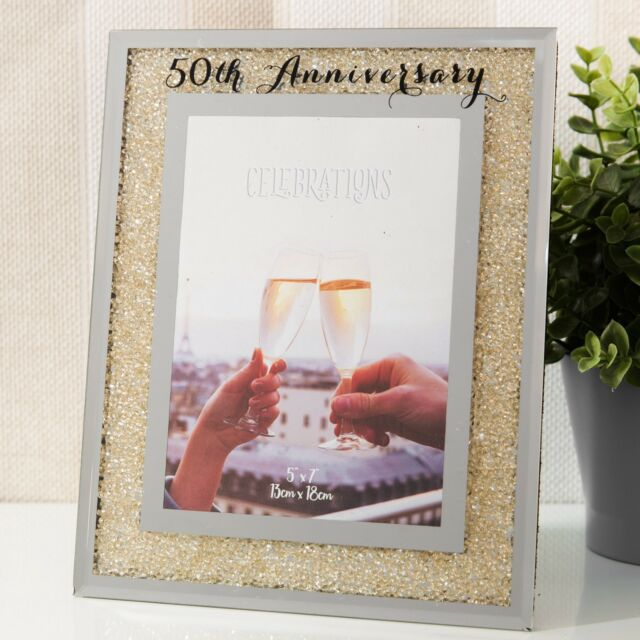50th Wedding Anniversary Photo Frame Golden Mirror Glass Crystal