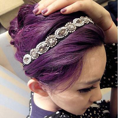 Fashion Retro Women's Crystal Rhinestone Gray Hand-beaded Headband Hair Band New