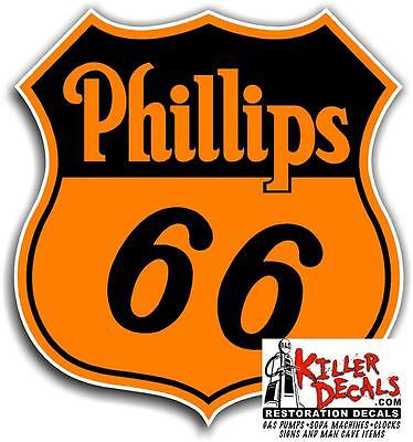 """6/"""" PHILLIPS 66 ETHYL GASOLINE DECALS GAS AND OIL PHIL-3"""