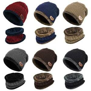 2-Pieces-Winter-Beanie-Hat-Scarf-Set-Warm-Knit-Thick-Fleece-Lined-For-Men-Women