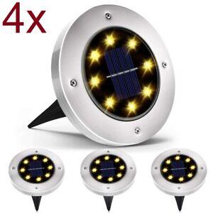 Lampara solar luz blanca exterior 8 LED para jardín tierra césped Disk Lights