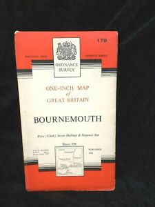 Details about vintage ORDNANCE SURVEY one inch map 1960 BOURNEMOUTH number  179