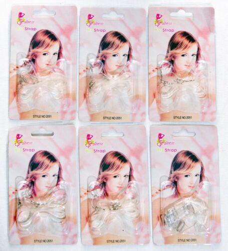 6 Pairs Clear Crystal Invisible Bra Set Shoulder Straps by Fullness