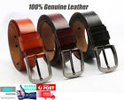 Genuine Fullgrain Leather Classic Jeans Mens Belt Australian black brown coffee