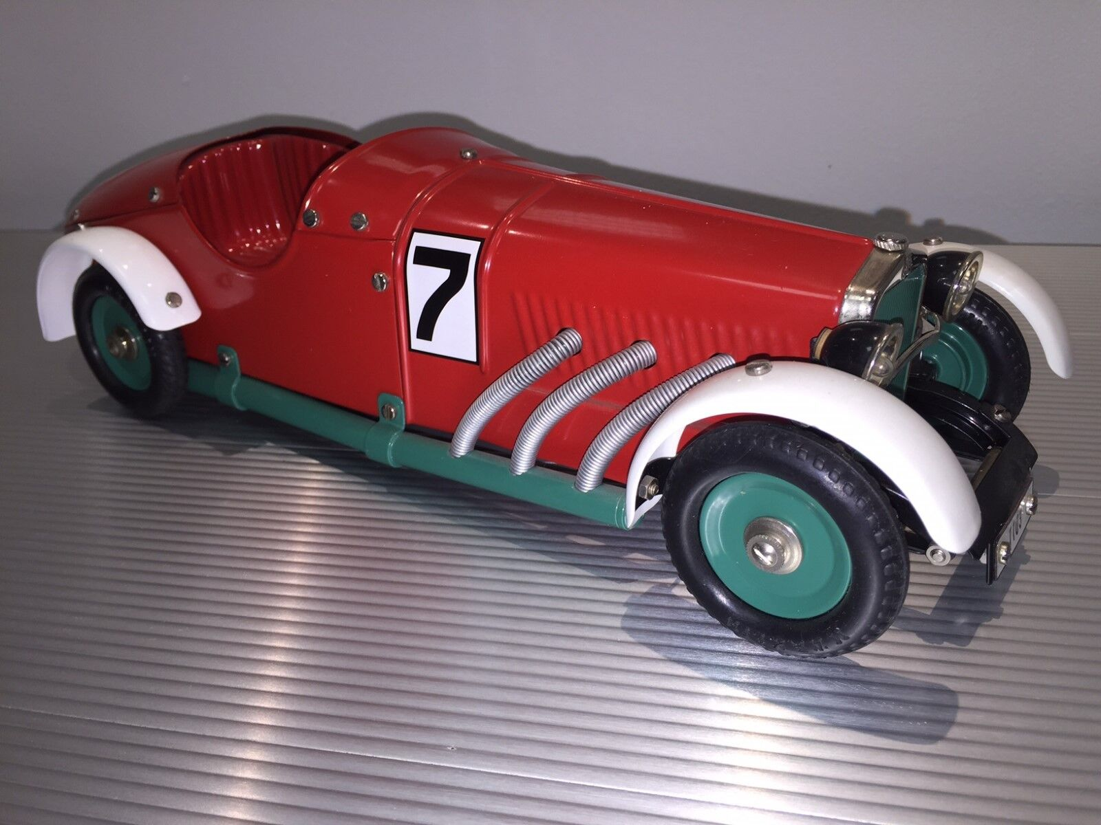 Vintage Marklin Tin   Mercedes SSK Race Car No. 7   Powerful Wind Up Motor